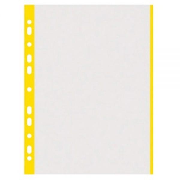 Folie protectie transparenta, cu margine color, 40 microni, 100 folii/set, DONAU - margine galbena