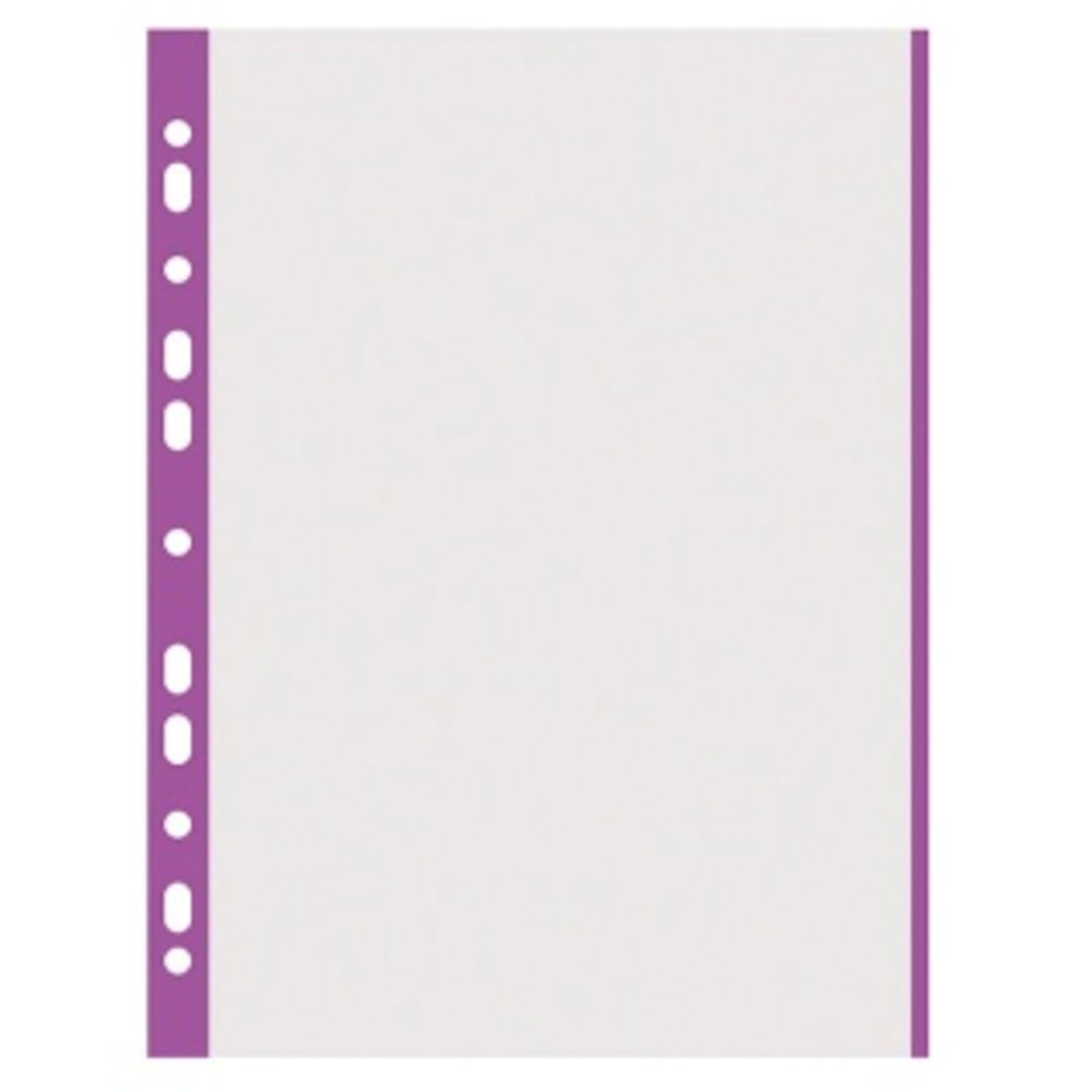 Folie protectie transparenta, cu margine color, 40 microni, 100 folii/set, DONAU - margine violet