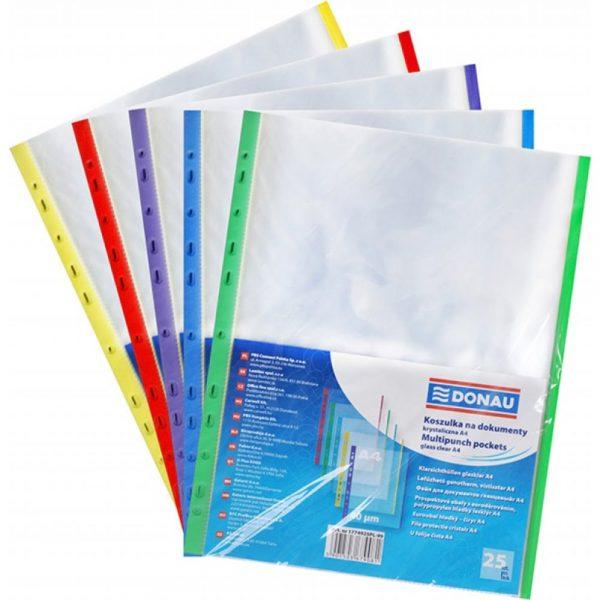 Folie protectie cristal, margine color, 40 microni, 25 folii/set, 1 cul/set, DONAU - diverse culori