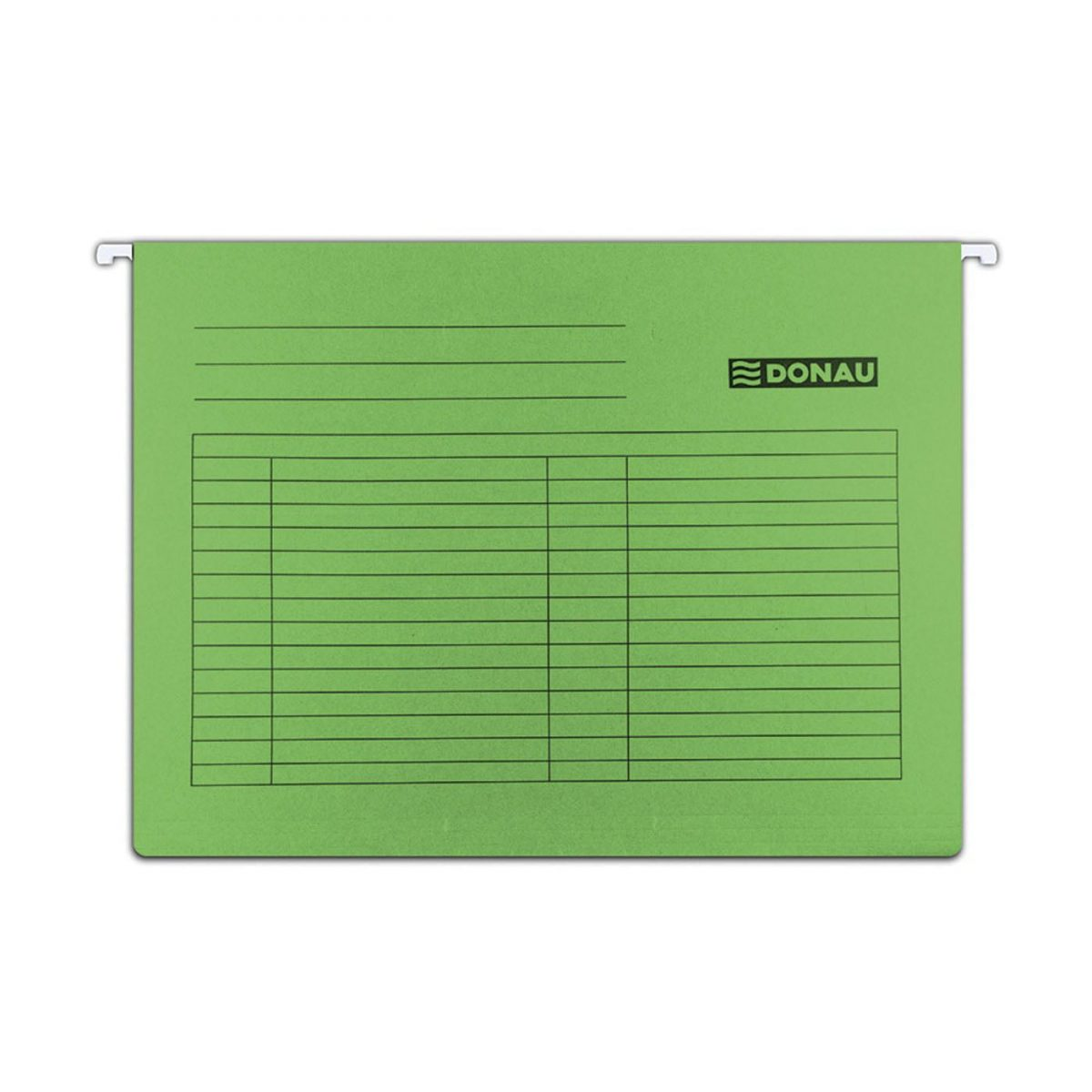 Dosar suspendabil cu eticheta, bagheta metalica, carton 230g/mp, 5 buc/set, DONAU - verde