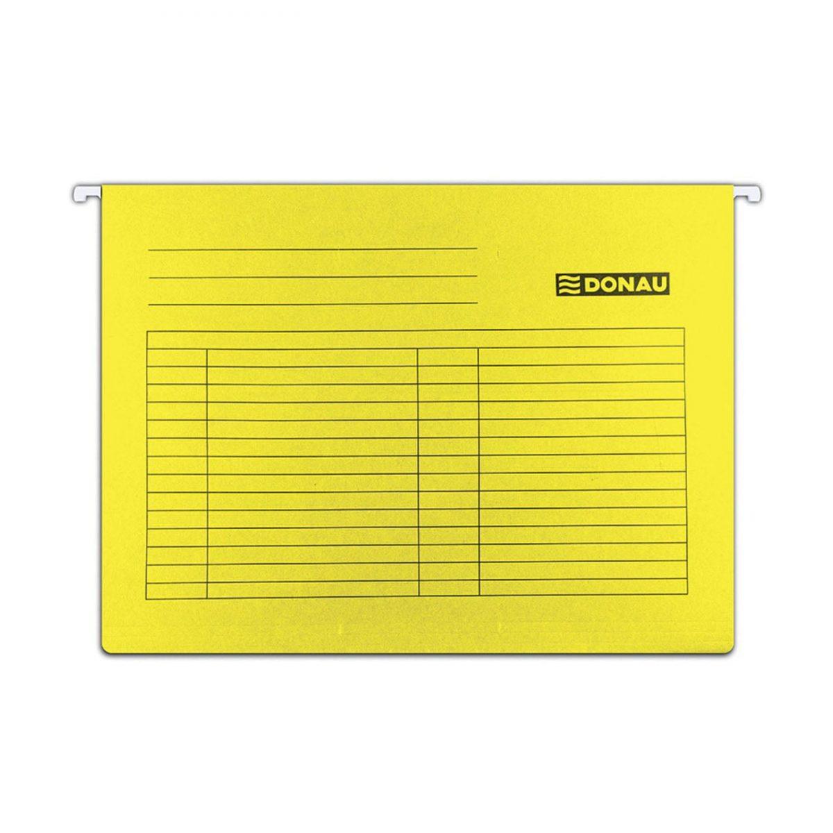 Dosar suspendabil cu eticheta, bagheta metalica, carton 230g/mp, 5 buc/set, DONAU - galben
