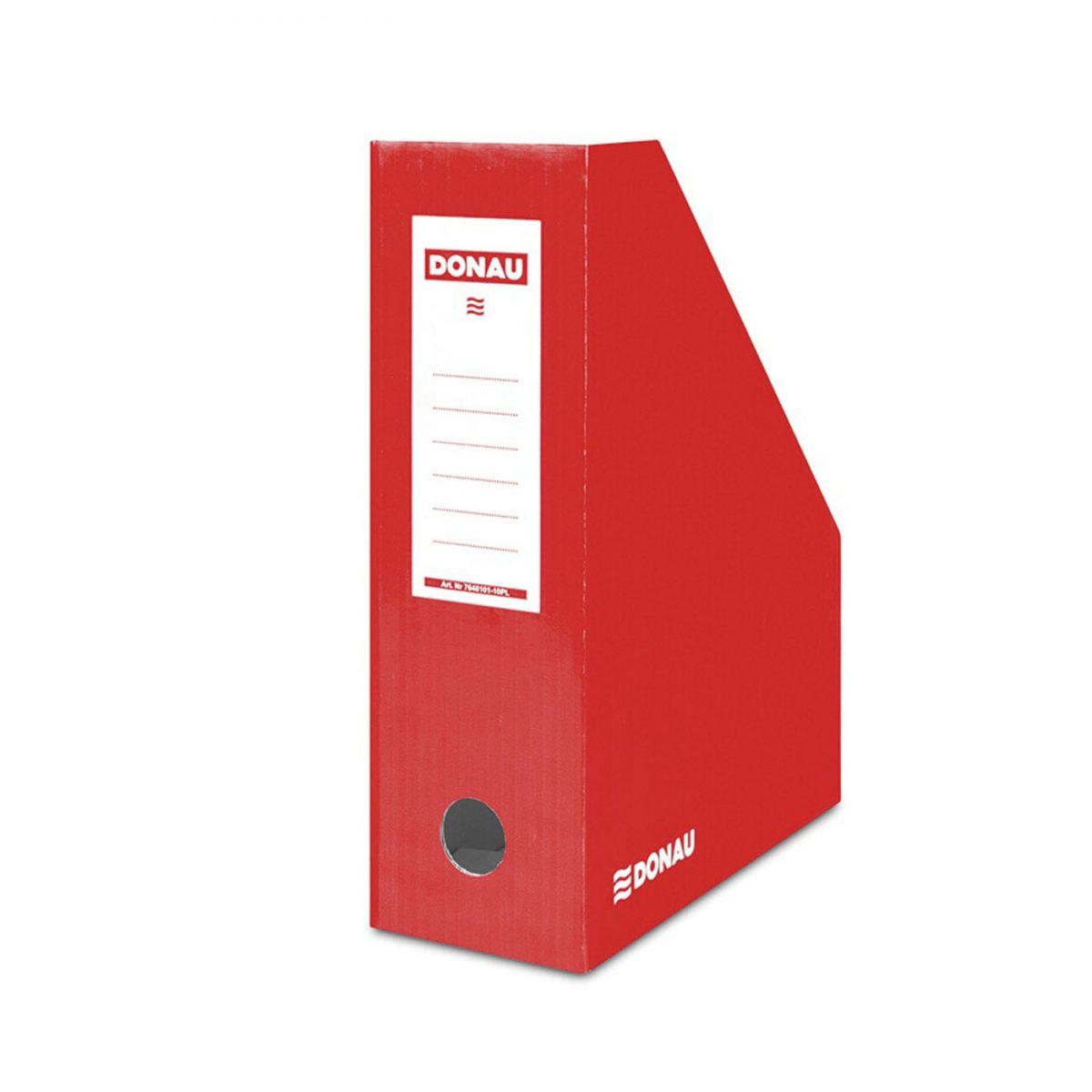 Suport vertical pentru cataloage, A4 - 10cm latime, din carton laminat, DONAU - rosu