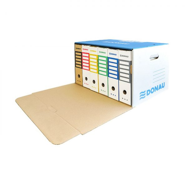 Container de arhivare cu capac deschidere frontala, carton 450gsm, DONAU - albastru/alb