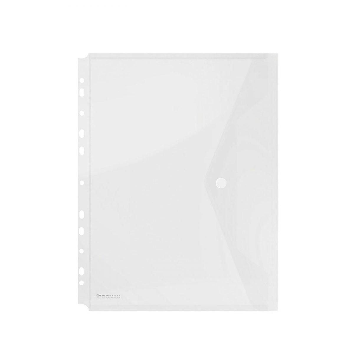 Folie protectie doc. A4 portret, inchidere cu capsa, 4/set, 200 microni, DONAU - transparent