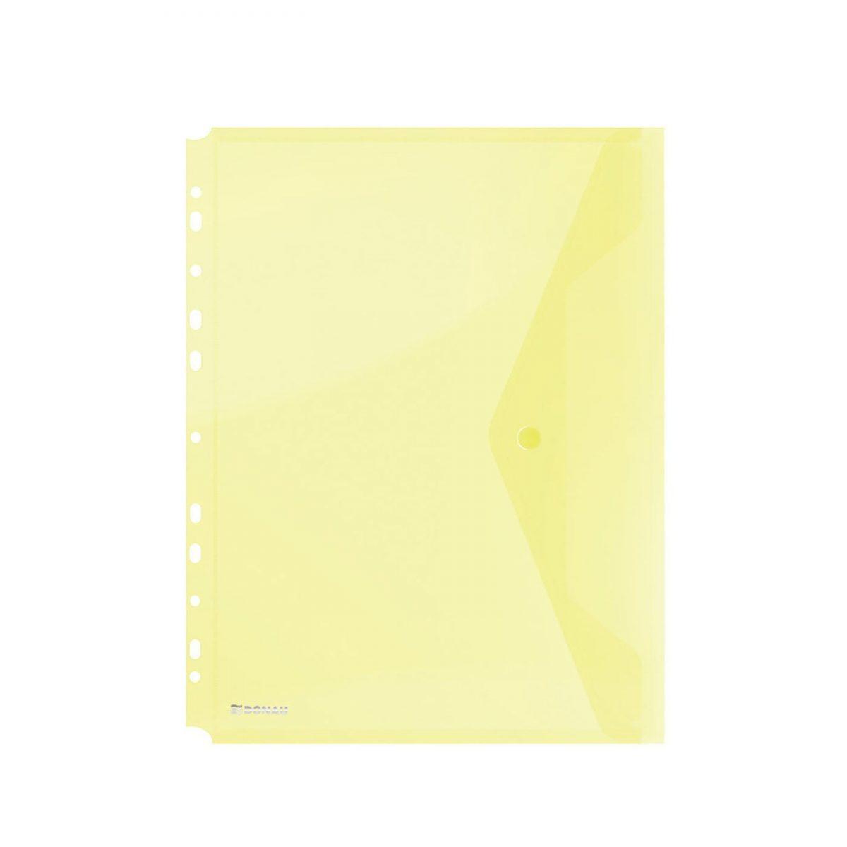 Folie protectie doc. A4 portret, inchidere cu capsa, 4/set, 200 microni, DONAU - galben transparent