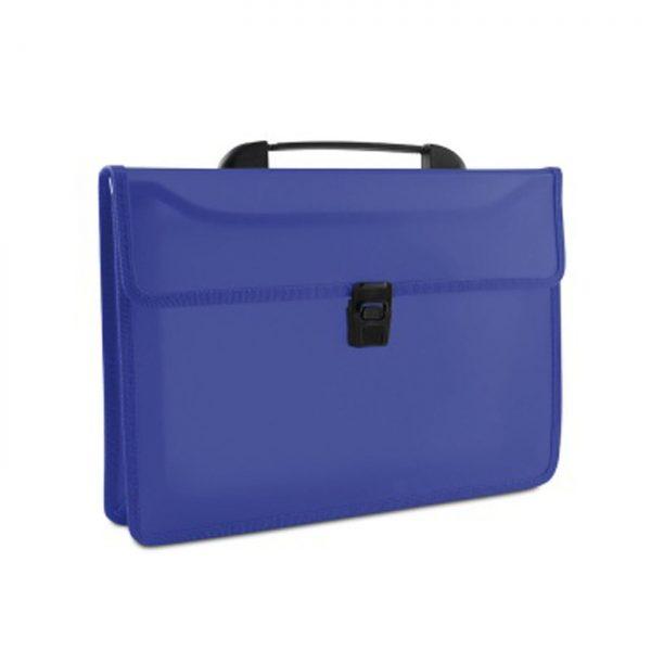 Servieta din plastic PP, cu 2 compartimente, cu inchidere si maner, DONAU - albastru transparent