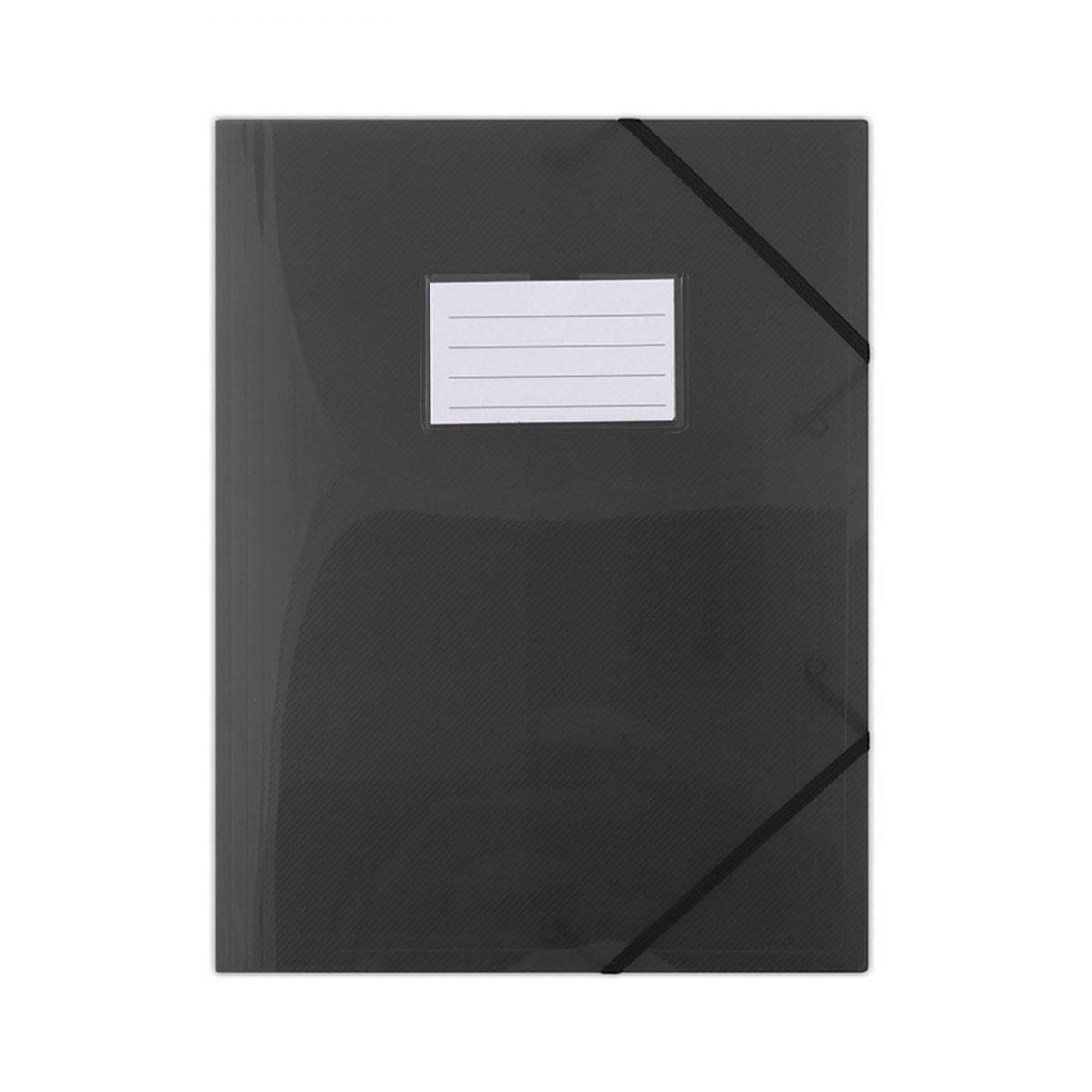 Mapa plastic cu elastic pe colturi, cu eticheta, 480 microni, DONAU - negru transparent
