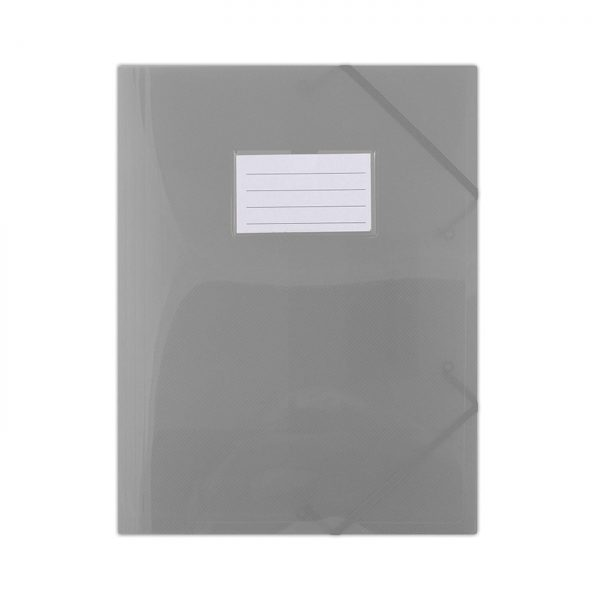 Mapa plastic cu elastic pe colturi, cu eticheta, 480 microni, DONAU - fumuriu