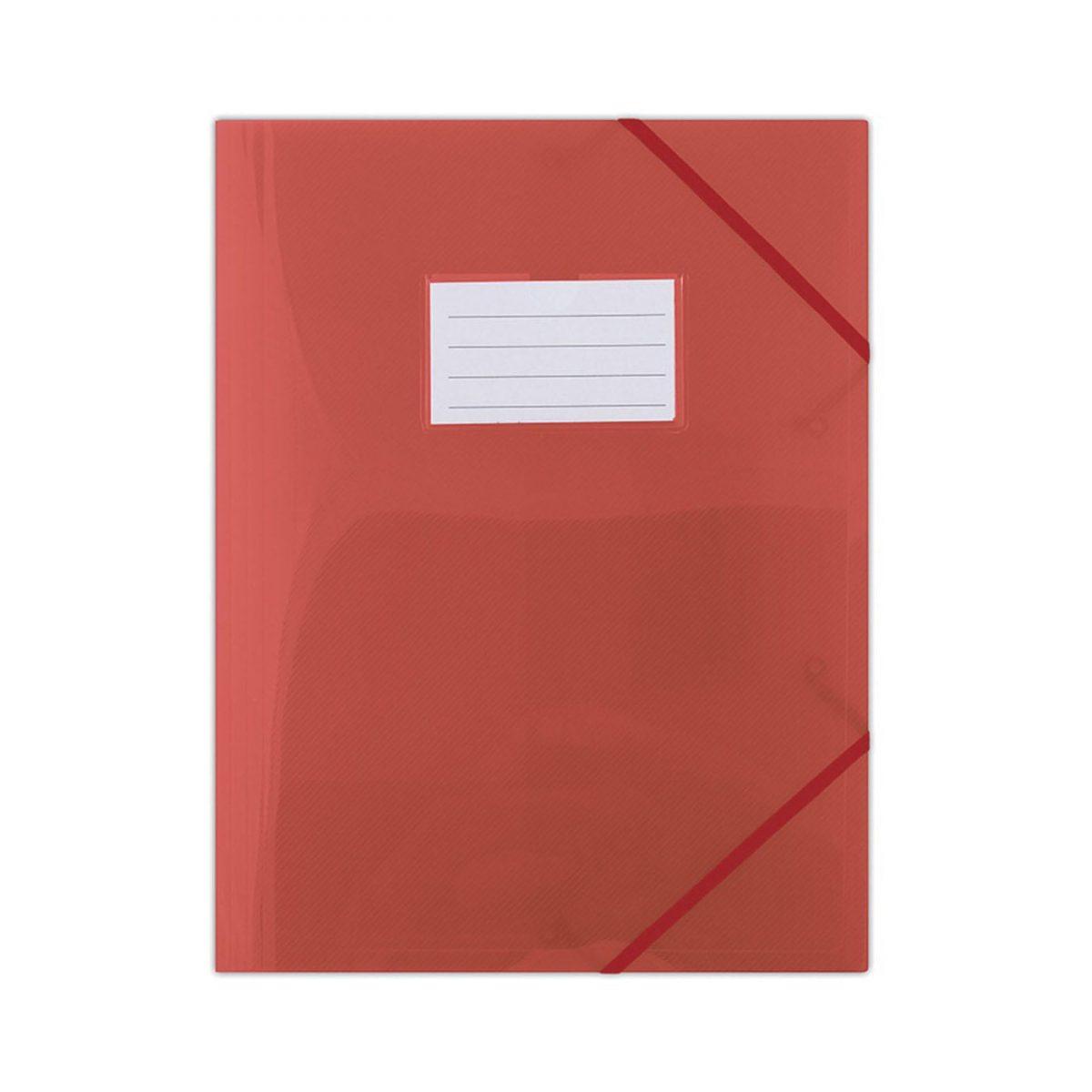 Mapa plastic cu elastic pe colturi, cu eticheta, 480 microni, DONAU - rosu transparent