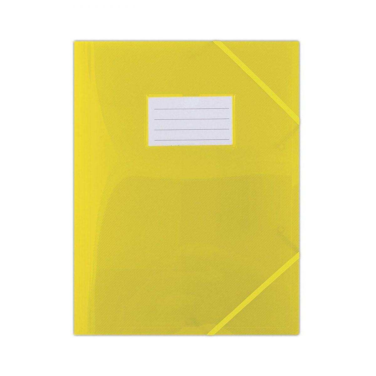 Mapa plastic cu elastic pe colturi, cu eticheta, 480 microni, DONAU - galben transparent