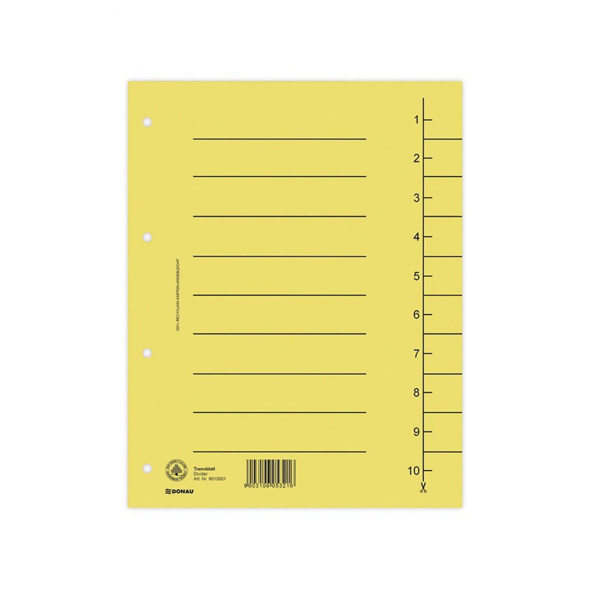Separatoare carton manila 250g/mp, 300 x 240mm, 100/set, DONAU - galben