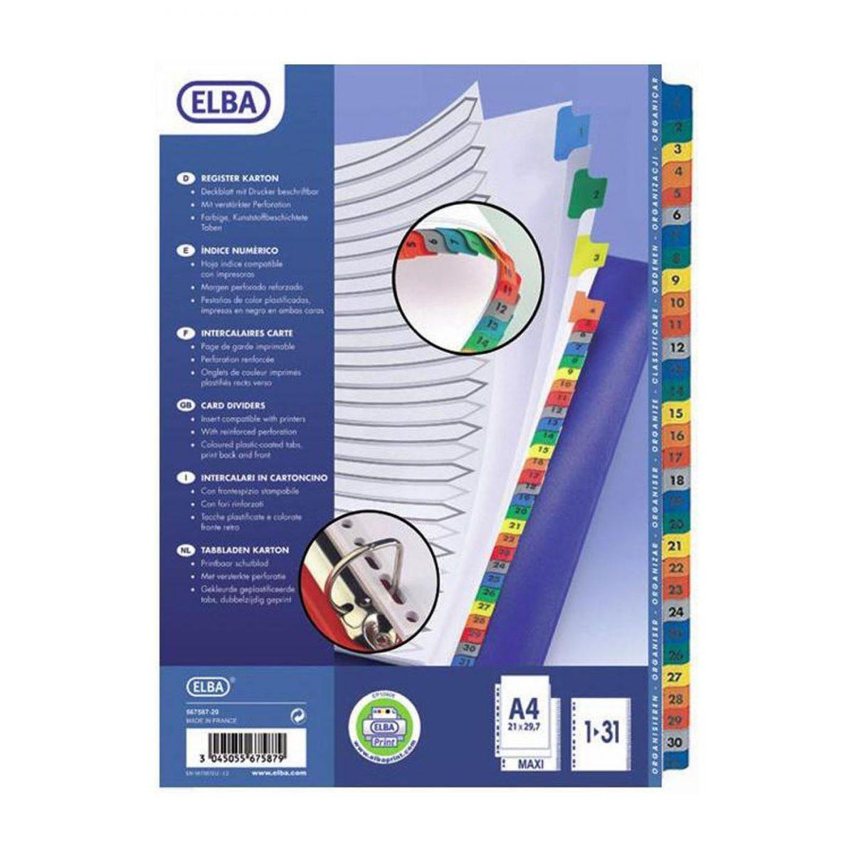 Index carton Mylar numeric 1-31, margine PP color, A4 XL, 170g/mp, ELBA