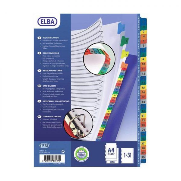 Index carton numeric 1-31, alb Mylar, margine PP color, A4 XL, 170g/mp, ELBA