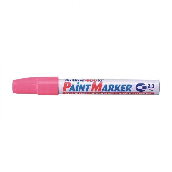 Marker cu vopsea ARTLINE 400XF, corp metalic, varf rotund 2.3mm - roz