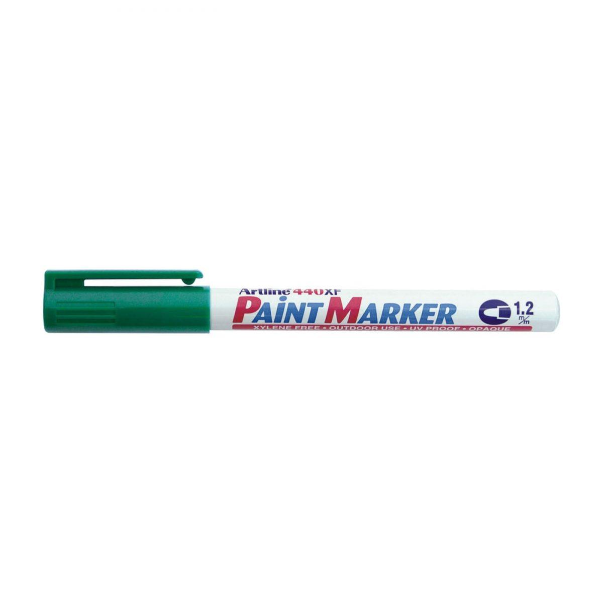 Marker cu vopsea ARTLINE 440XF, corp metalic, varf rotund 1.2mm - verde