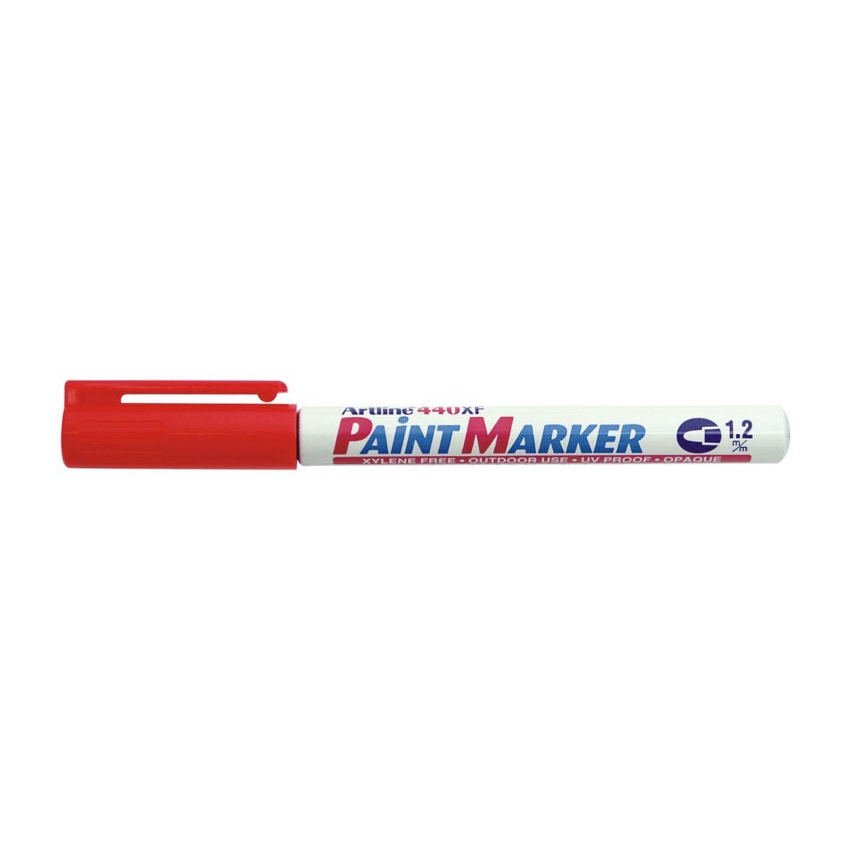 Marker cu vopsea ARTLINE 440XF, corp metalic, varf rotund 1.2mm - rosu