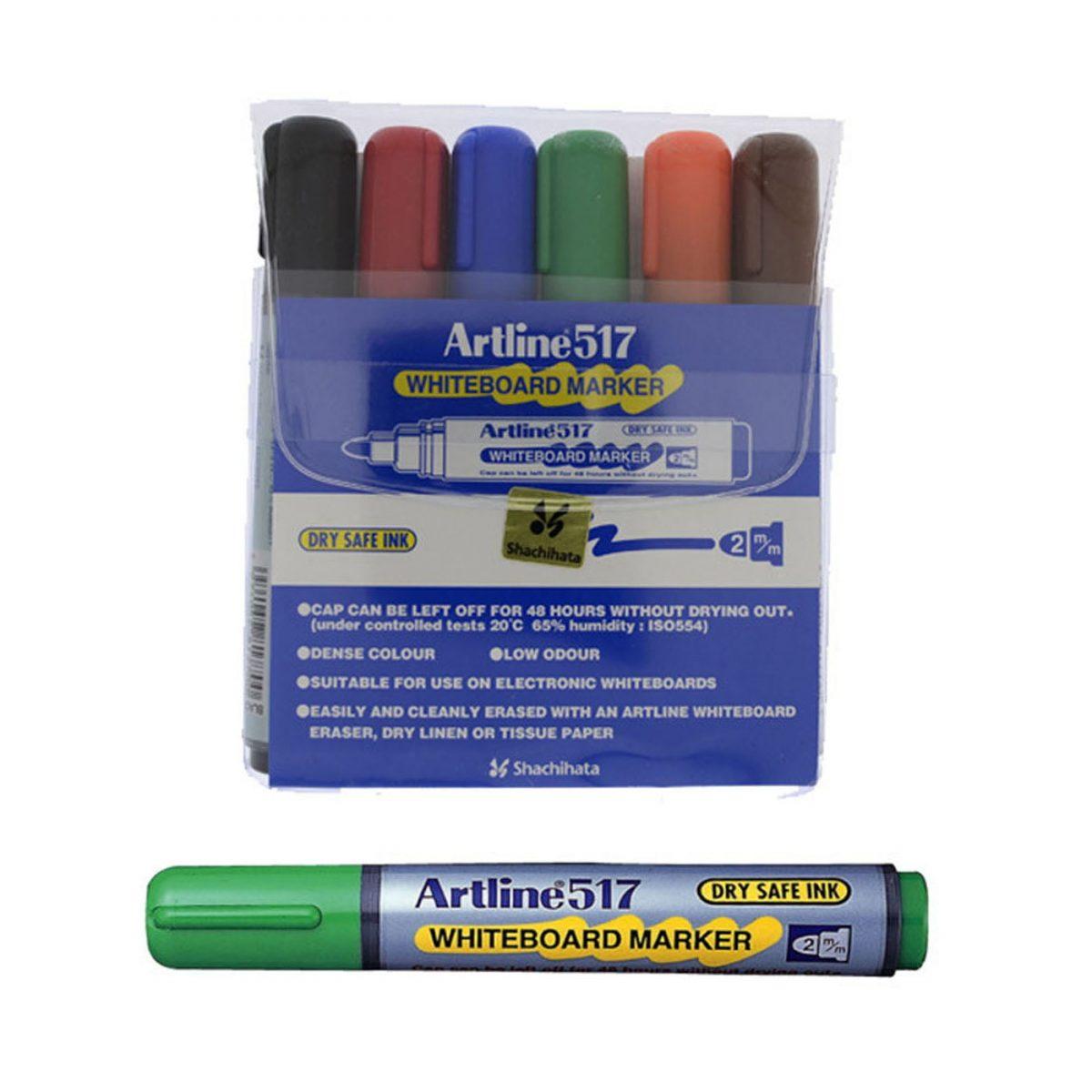 Whiteboard marker varf rotund, ARTLINE 517 - Dry safe ink, 6 culori/set