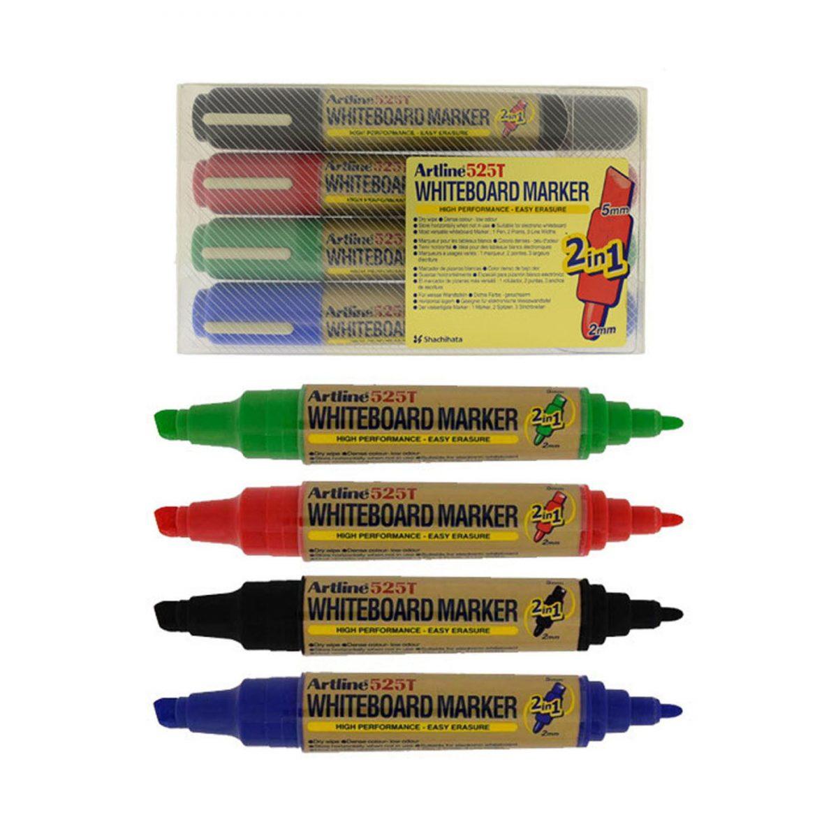 Whiteboard marker 2 capete ARTLINE 525T, 4 buc/set, varf rotund 2.0mm/tesit 5.0mm