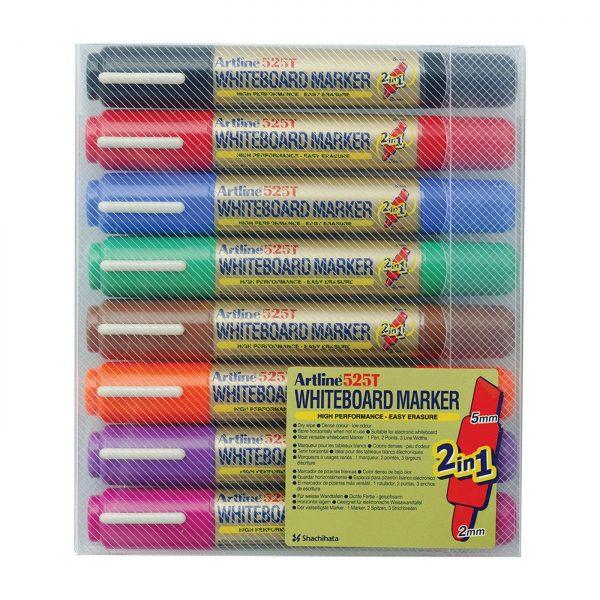 Whiteboard marker 2 capete ARTLINE 525T, 8 buc/set,varf rotund 2.0mm/tesit 5.0mm