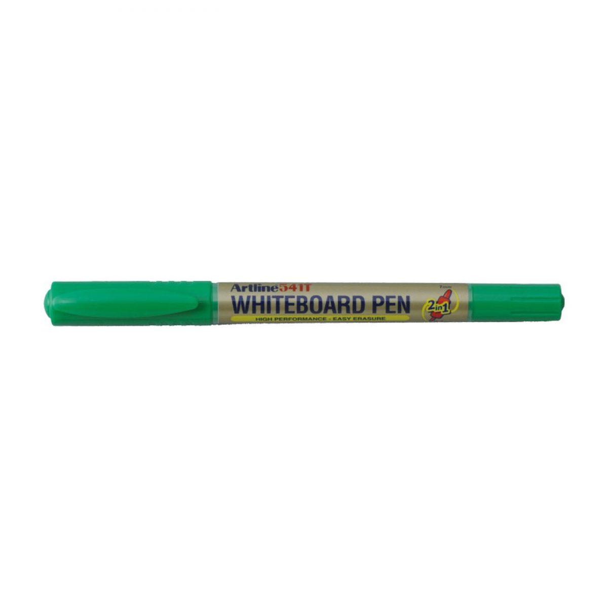 Marker pentru tabla de scris ARTLINE 541T, doua capete - varfuri rotunde 0.4mm/1.0mm - verde