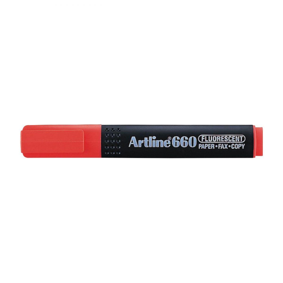 Textmarker ARTLINE 660, varf tesit 1.0-4.0mm - rosu fluorescent