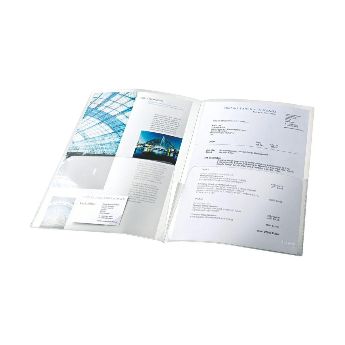 Mapa de prezentare ESSELTE, A4, standard, 180 microni, 5 buc/set - transparent