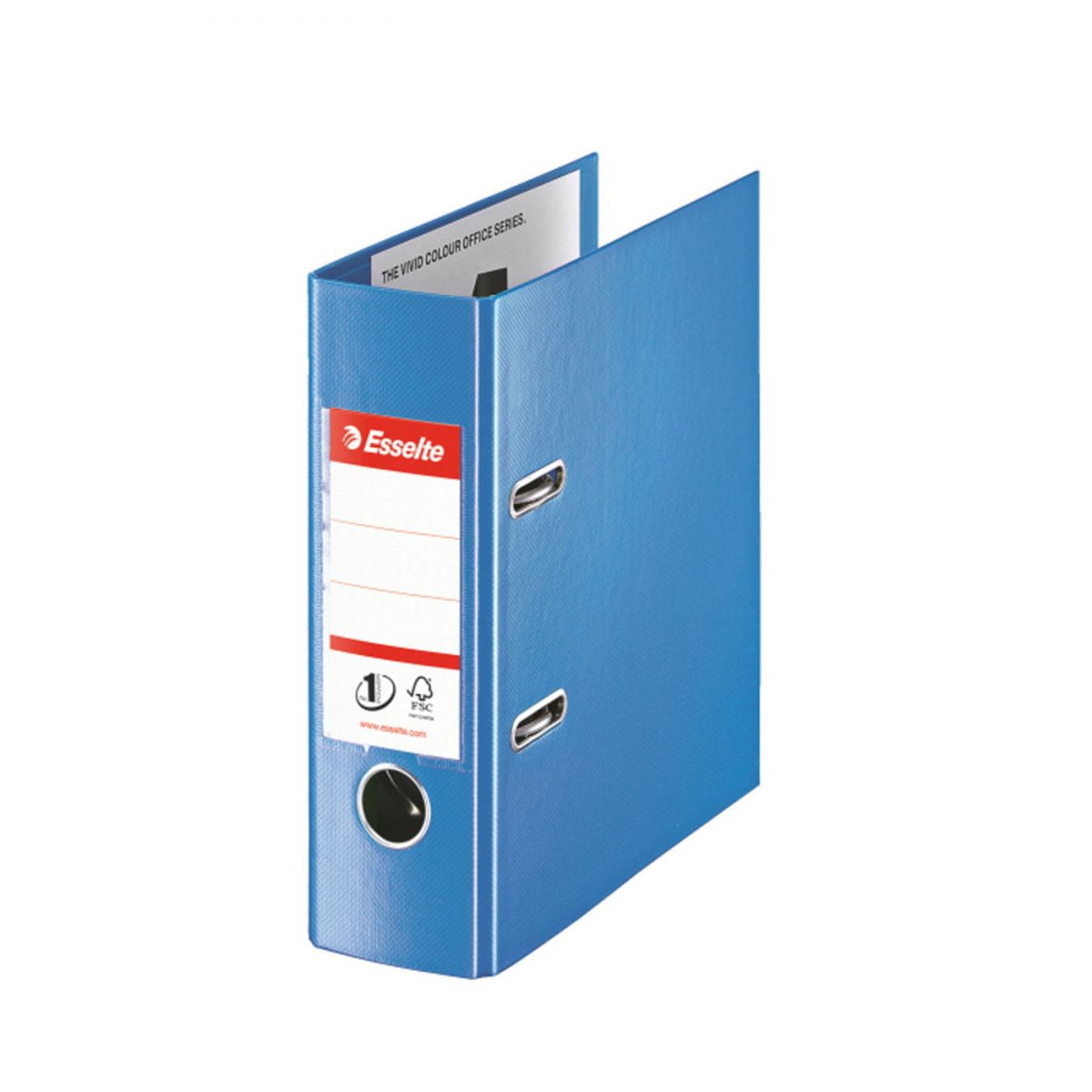 Biblioraft ESSELTE No. 1 Power, A5, plastifiat PP/PP, margine metalica, 75 mm - Vivida albastru