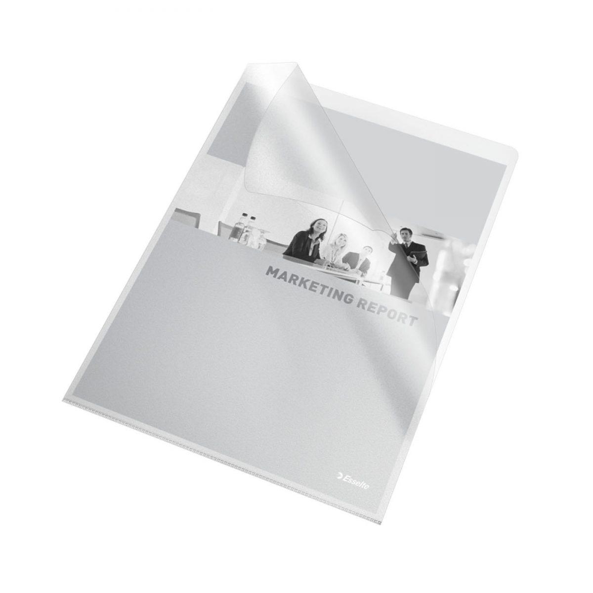 """Mapa protectie """"L"""" ESSELTE, A4, cristal, 115 microni, 10 buc/set"""