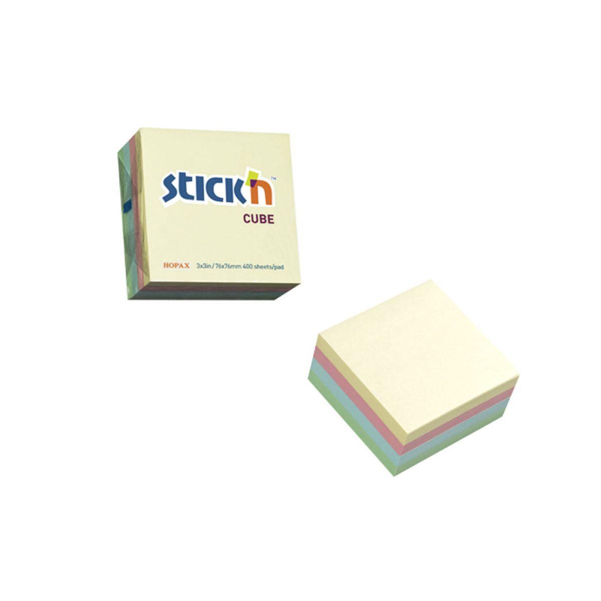 """Cub notes autoadeziv 76 x 76 mm, 400 file, Stick""""n - culori pastel"""