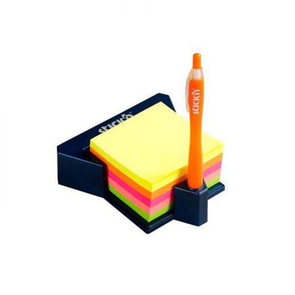 """Cub autoadeziv cu suport, 76 x 76 mm, 400 file, Stick""""n - 5 culori neon"""