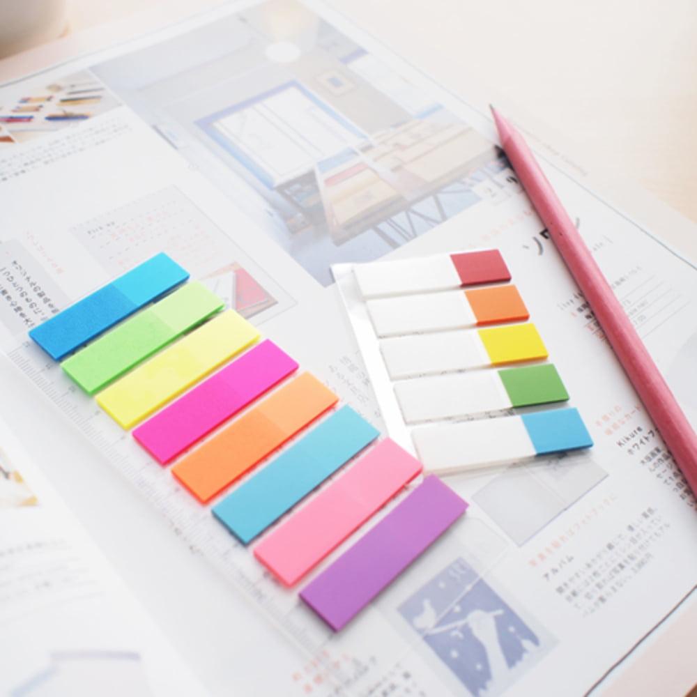 "Stick index plastic transp. color 45 x 12 mm, 8 x 25 file/set + rigla, Stick""n - 8 culori neon"