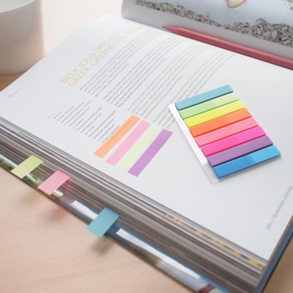"Stick index plastic transparent color 45 x 8 mm, 8 x 20 file/set, Stick""n - 8 culori neon"