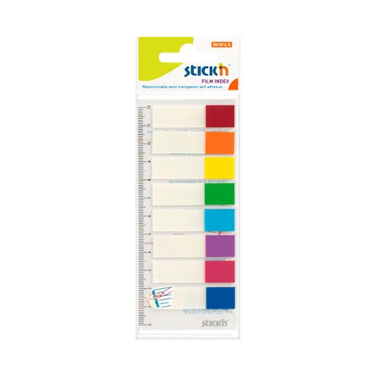 "Stick index plastic transparent color 45 x 12 mm, 8 x 15 file/set, Stick""n - 8 culori transp./neon"