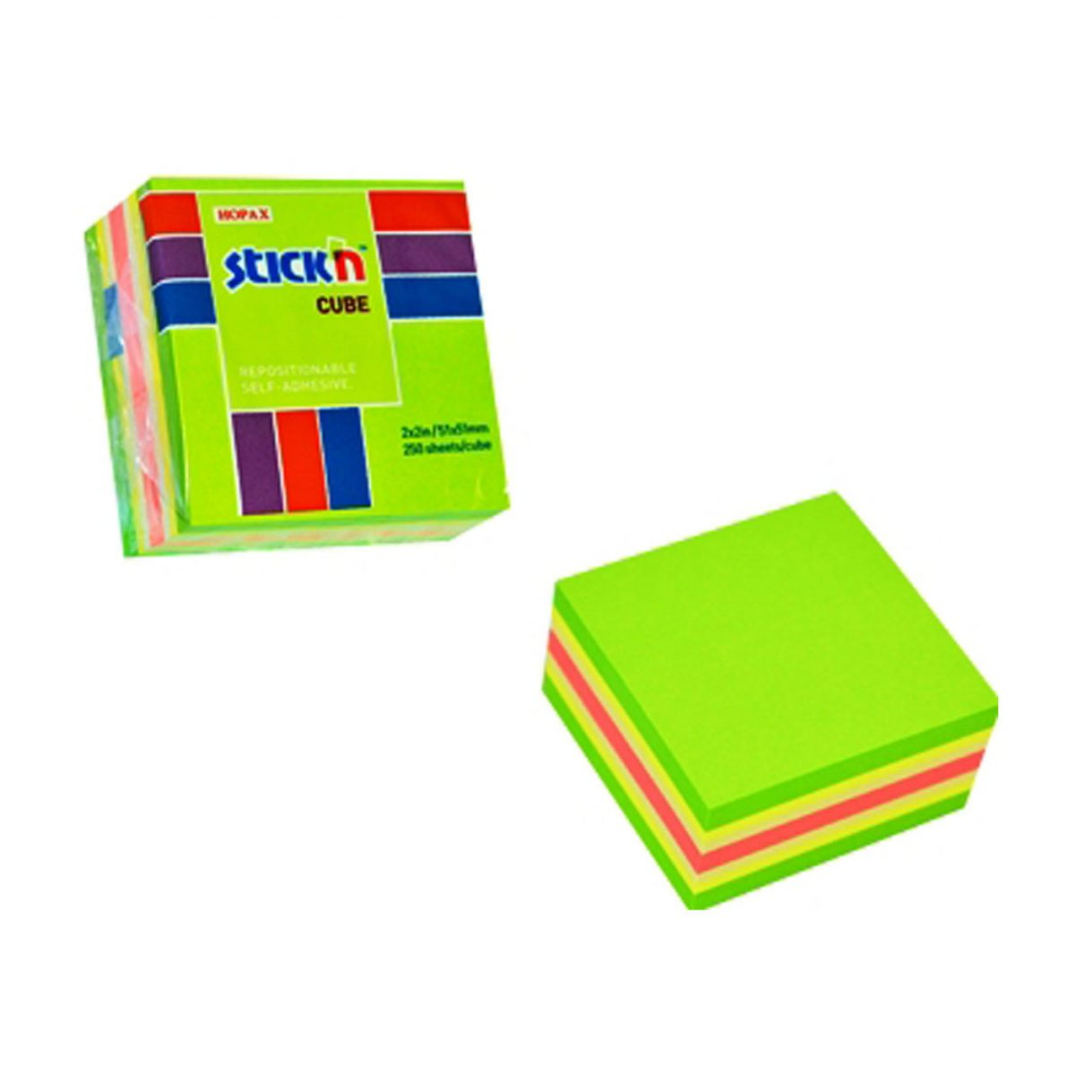 "Cub notes autoadeziv 51 x 51 mm, 250 file, Stick""n - verde"