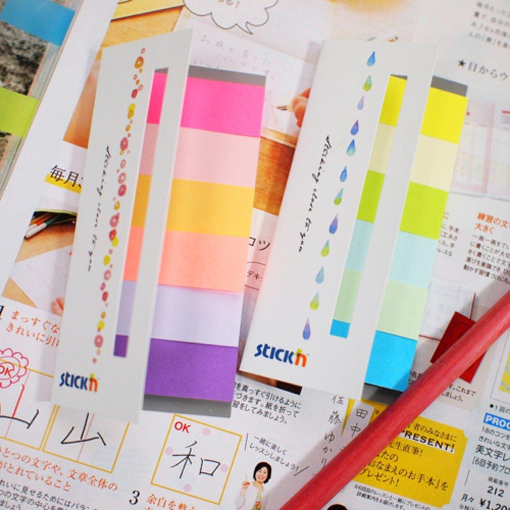 "Stick index hartie color 45 x 15 mm, 6 x 30 file/set, Stick""n - 6 culori neon si pastel"