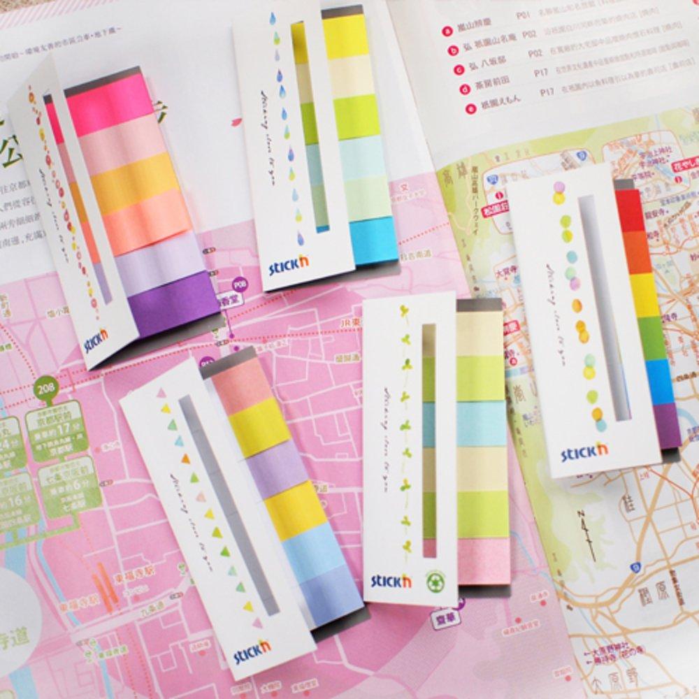 "Stick index hartie color 45 x 15 mm, 6 x 30 file/set, Stick""n - 6 culori alb/neon"