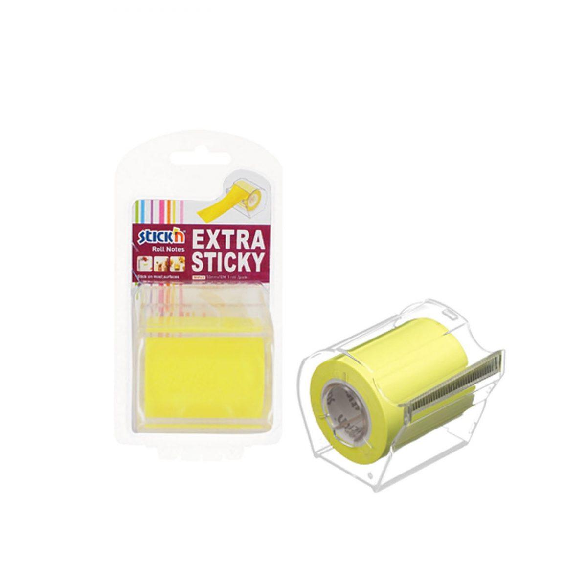 "Notes autoadeziv in rola, cu dispenser, 50 mm x 10 m, Stick""n - galben neon"