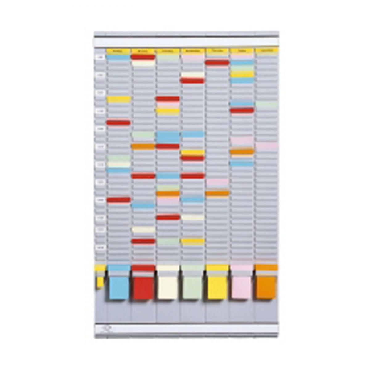 Planner saptamanal cu T-cards, cu 35 de slot-uri, complet, JALEMA - gri deschis