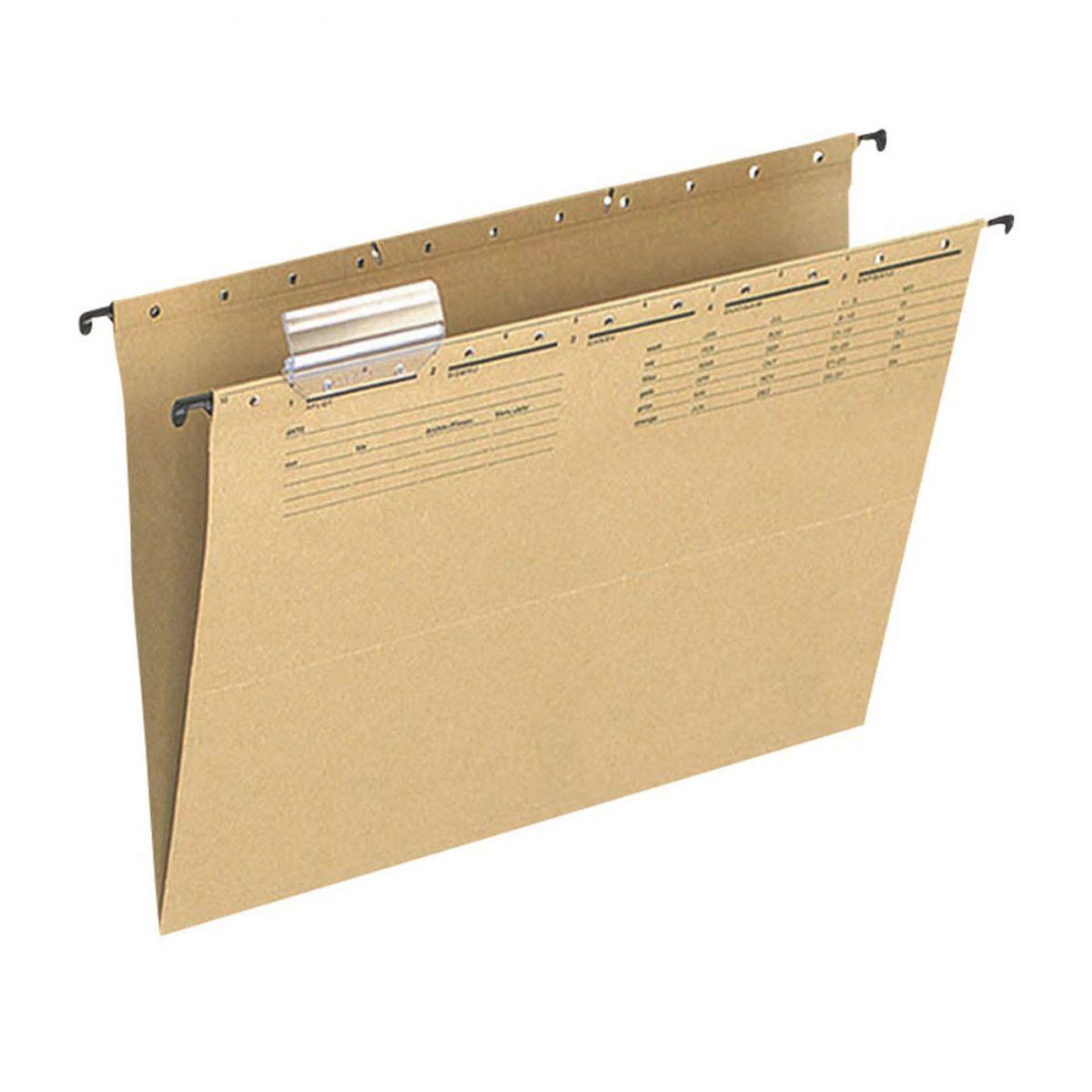 Dosar suspendabil cu eticheta , bagheta metalica, Q-Connect - kraft
