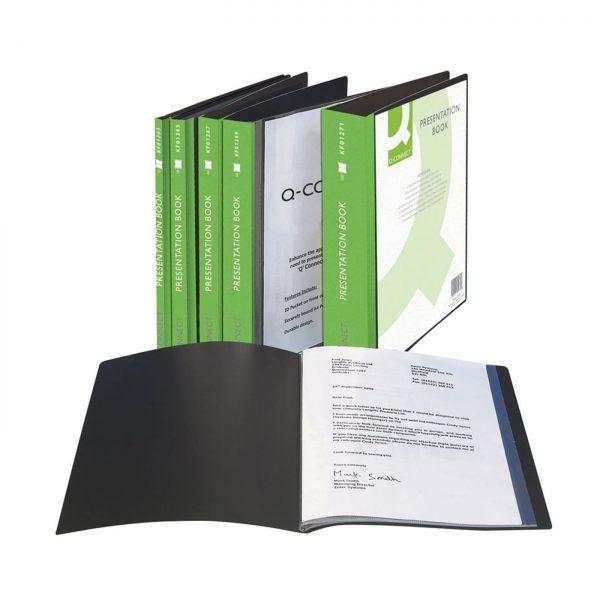 Dosar de prezentare personalizabil, cu 40 folii, A4, coperta rigida, Q-Connect - negru
