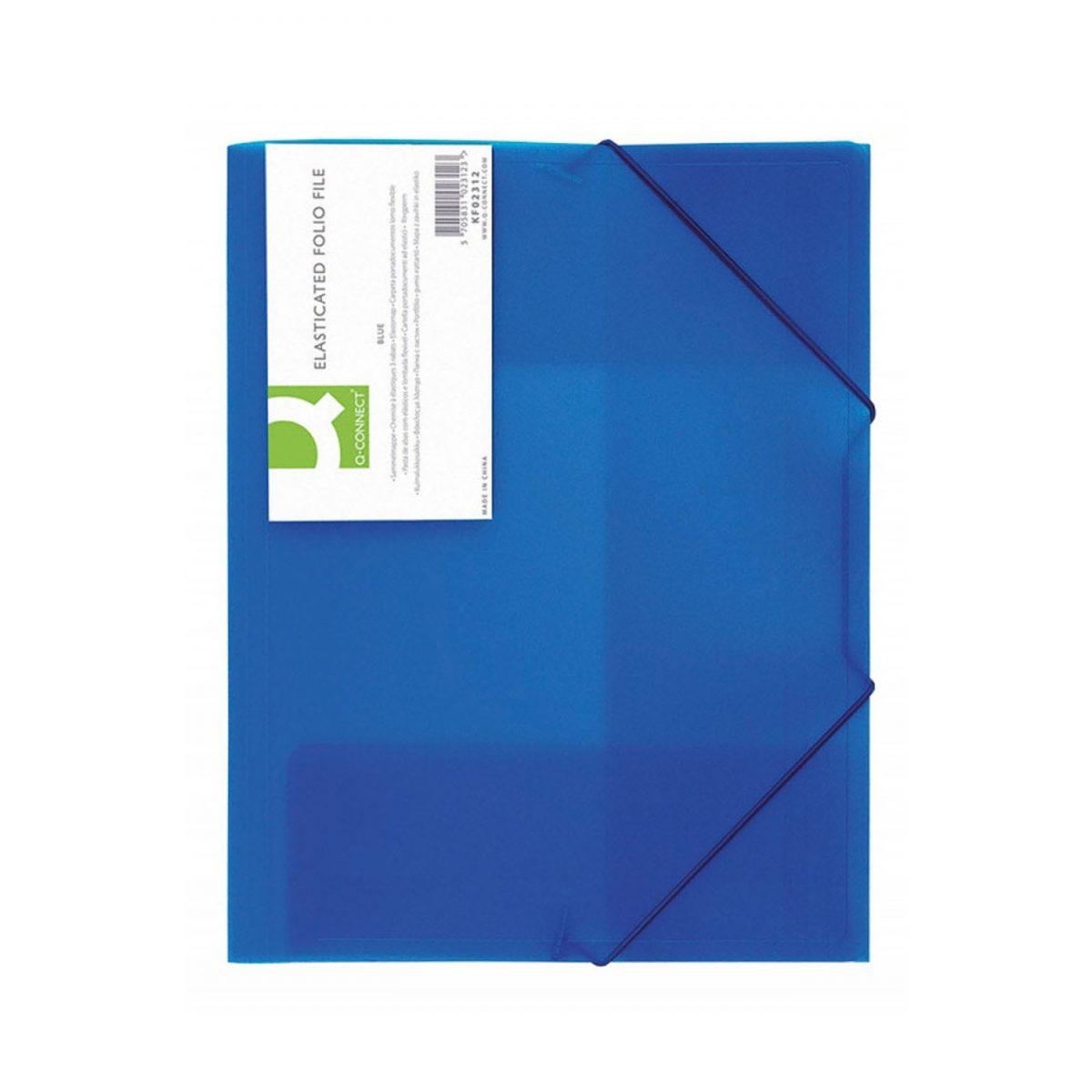Mapa plastic cu elastic pe colturi, 400 microni, Q-Connect - albastru transparent