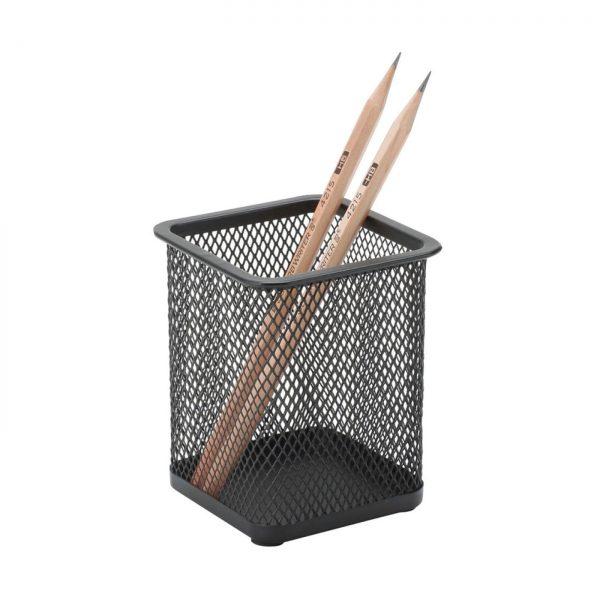 Suport instrumente de scris metalic Mesh, forma patrata, Q-Connect - negru