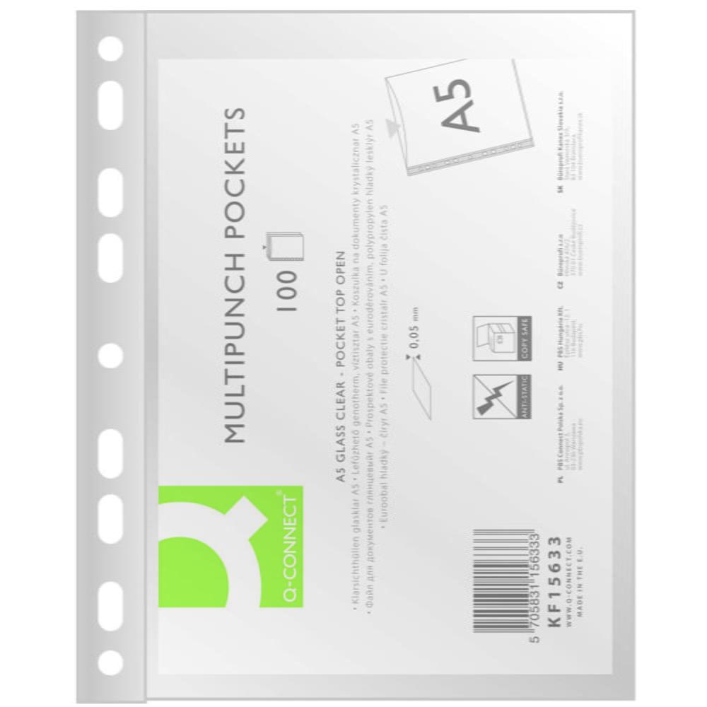 Folie protectie pentru documente A5, 50 microni, 100folii/set, Q-Connect - cristal