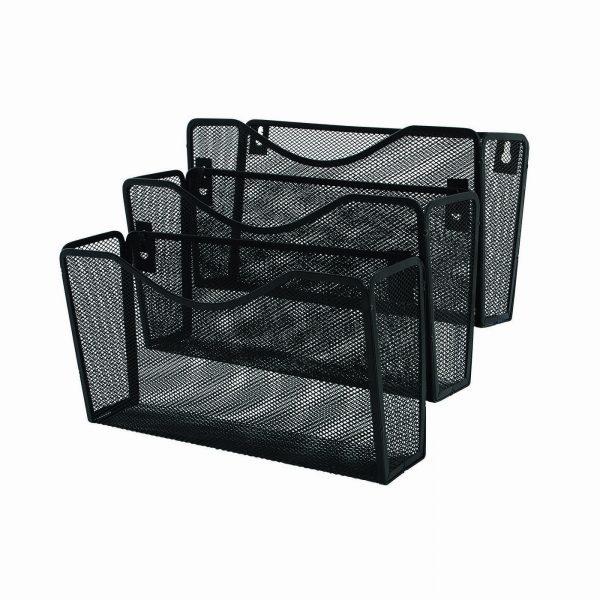 Suport metalic pentru reviste si pliante Mesh, de perete, 3 buc/set, Q-Connect - negru