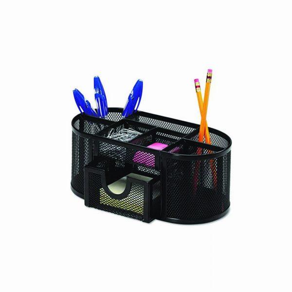 Organizer metalic de birou, 8 compartimente, Q-Connect - negru