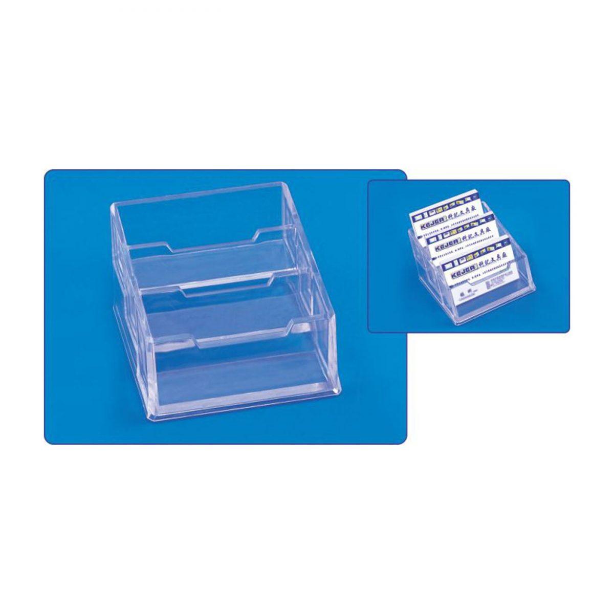 Suport carti de vizita triplu, transparent, plastic, KEJEA