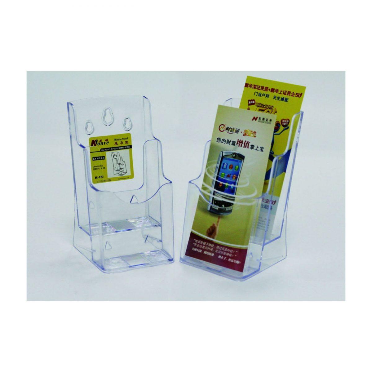 Display plastic pentru brosuri, 2 x 1/3A4, KEJEA - transparent