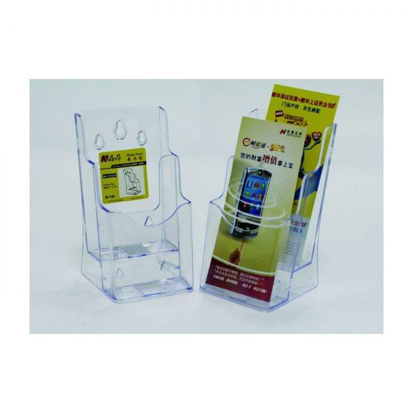 Display plastic pentru brosuri, de birou/perete, 2 x 1/3A4, KEJEA - transparent