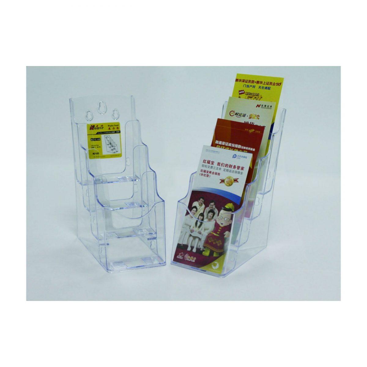 Display plastic pentru brosuri, 4 x 1/3A4, KEJEA - transparent