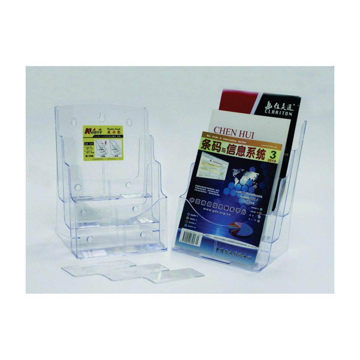 Display plastic pentru pliante, 3 x A4-portrait, KEJEA - transparent